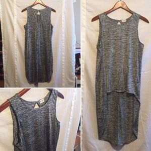 High-low hem tank with back keyhole - gray